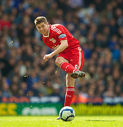 BIRMINGHAM, ENGLAND - Sunday, April 4, 2010: Liverpool's captain Steven Gerrard MBE in action against Birmingham City during the Premiership match at St Andrews. (Photo by David Rawcliffe/Propaganda)