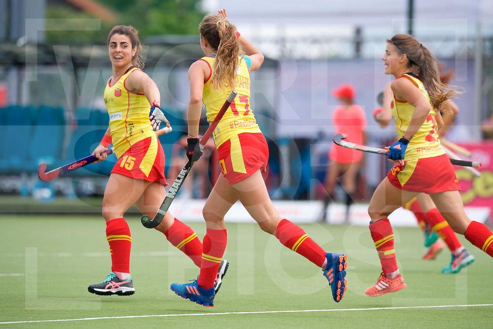 SANTIAGO - 2016 8th Women's Hockey Junior World Cup<br /> BEL v ESP (Pool D)<br /> foto: Spanish goal celebration.<br /> FFU PRESS AGENCY COPYRIGHT FRANK