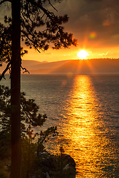 """Sunset at Lake Tahoe 41"" - Photograph of a smokey sunset at Lake Tahoe, just north of Sand Harbor."