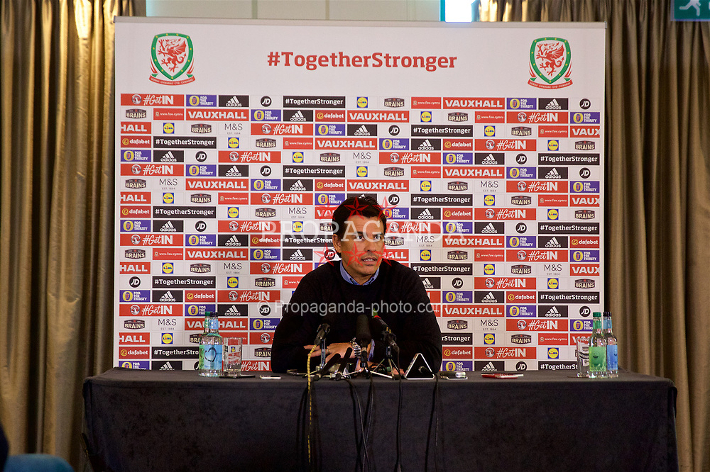 CARDIFF, WALES - Wednesday, November 1, 2017: Wales' manager Chris Coleman during a press conference at the Vale Resort to announce his squad for the forthcoming international friendly games against France and Panama. (Pic by Mark Hawkins/Propaganda)
