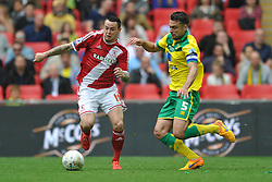 Lee Tomlin Middlesbrough battles with Russell Martin, Norwich Middlesbrough v Norwich, Sky Bet Championship, Play Off Final, Wembley Stadium, Monday  25th May 2015