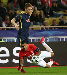 FONTVIEILLE, Nov. 22, 2017  Radamel Falcao (front) of Monaco competes with Marcel Halstenberg of Leipzig during their Group G match of UEFA Champions League in Fontvieille, Monaco on Nov. 21, 2017. Monaco was defeated 1-4. (Credit Image: © Serge Haouzi/Xinhua via ZUMA Wire)