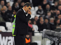 Football - 2017 / 2018 Premier League - West Ham United vs. Brighton & Hove Albion<br /> <br /> A worried West ham Manager, Slaven Bilic after going 3 goals down at The London Stadium.<br /> <br /> COLORSPORT/ANDREW COWIE