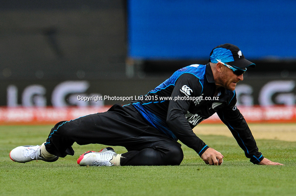 Brendon McCullum of the Black Caps during the ICC Cricket World Cup match between New Zealand and Sri Lanka at Hagley Oval in Christchurch, New Zealand. Saturday 14 February 2015. Copyright Photo: John Davidson / www.Photosport.co.nz