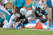 Carolina Panthers wide receiver Steve Smith (89) is tackled by Miami Dolphins outside linebacker Philip Wheeler (52) as he dives fro extra yards during their game at SunLife Stadium on Nov. 24, 2013 in Miami Gardens, Florida. <br /> <br /> ©2013 Scott A. Miller