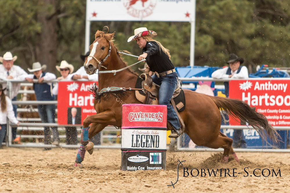 Hope Delaware makes her barrel racing run during the third performance of the Elizabeth Stampede on Sunday, June 3, 2018.