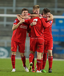 LIVERPOOL, ENGLAND - Tuesday, December 9, 2014: Liverpool's players celebrate beating FC Basel 3-0 during the UEFA Youth League Group B match at Langtree Park. (Pic by David Rawcliffe/Propaganda)