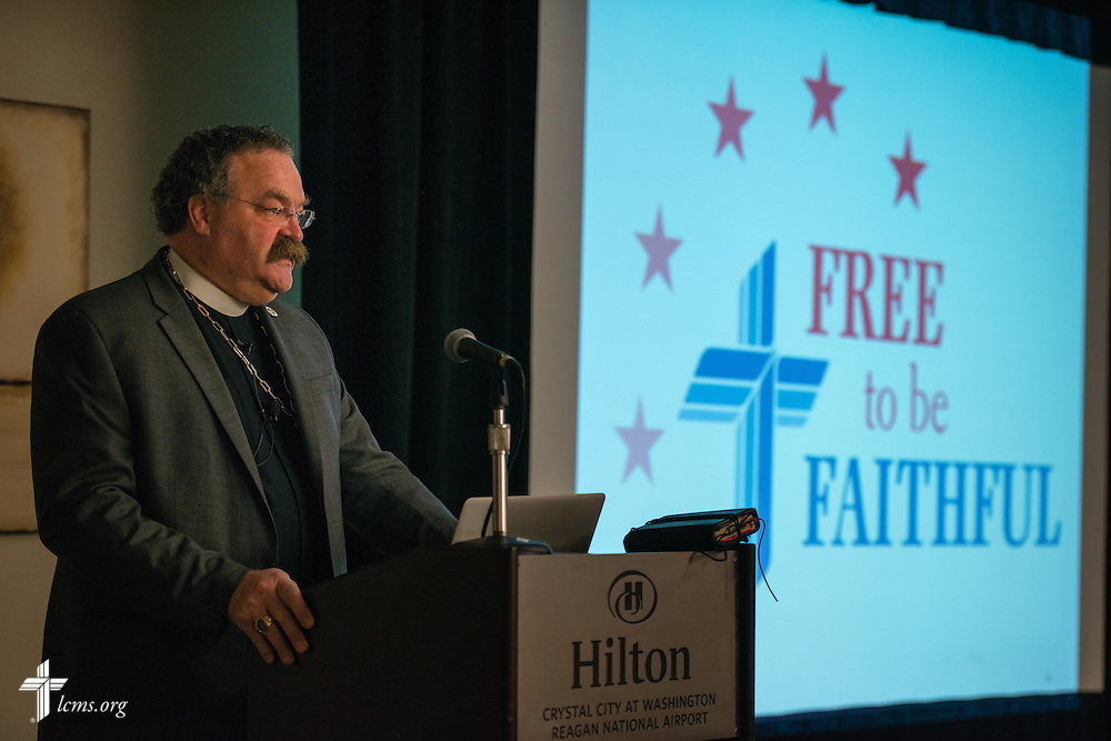 The Rev. Dr. Matthew C. Harrison, president of The Lutheran Church–Missouri Synod, addresses participants in the 2015 LCMS Life Conference Friday, Jan. 23, 2015, at the Hilton in Crystal City, Va. LCMS Communications/Erik M. Lunsford