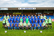 Team photo during the official team photocall for AFC Wimbledon at the Cherry Red Records Stadium, Kingston, England on 8 August 2019.