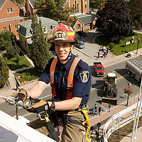 Firefighter Dan Dawson, a member of the Technical Rescue team, gets ready to rappel dow the side of City Hall during Brampton Day celebrations.<br /> <br /> Photo by Bryon Johnson