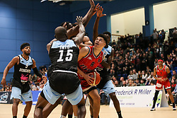 Tevin Falzon of Bristol Flyers is crowded out - Photo mandatory by-line: Arron Gent/JMP - 28/04/2019 - BASKETBALL - Surrey Sports Park - Guildford, England - Surrey Scorchers v Bristol Flyers - British Basketball League Championship