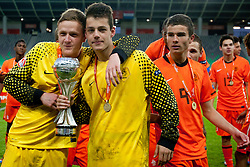 Goalkeepers celebrate during trophy ceremony after winning the UEFA European Under-17 Championship Final match between Germany and Netherlands on May 16, 2012 in SRC Stozice, Ljubljana, Slovenia. Netherlands defeated Germany after penalty shots and became European Under-17 Champion 2012. (Photo by Urban Urbanc / Sportida.com)