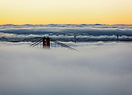 Dawn over San Francisco Bay with Golden Gate Bridge, Bay Bridge. Limited edition of 25.  22x16 inches on archival matte paper.