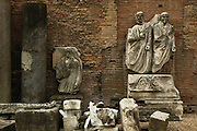 Rome, Italy, November 12, 2004-Ancient sculptures inside the courtyard of the National Museum of Rome.