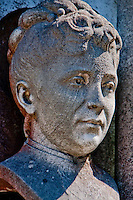 Close-up of the bust of a woman on a grave in Isola San Michel in Venice, Italy.