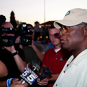 Mayor Sly James gives a statement  to the local TV news media in Kansas City about the youth flash mob problem on the Plaza.