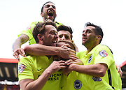 Brighton striker Jiri Skalak (38) celebrates with team mates after his goal (1-2) during the Sky Bet Championship match between Charlton Athletic and Brighton and Hove Albion at The Valley, London, England on 23 April 2016. Photo by David Charbit.