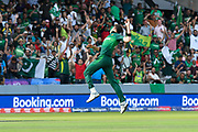 5 Wickets - Shaheen Afridi of Pakistan leaps in the air to celebrate taking the wicket of Mohammad Mahmudullah Riyad of Bangladesh during the ICC Cricket World Cup 2019 match between Pakistan and Bangladesh at Lord's Cricket Ground, St John's Wood, United Kingdom on 5 July 2019.