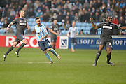 Coventry City Striker Adam Armstrong scores his first during the Sky Bet League 1 match between Coventry City and Bury at the Ricoh Arena, Coventry, England on 13 February 2016. Photo by Dennis Goodwin.