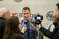 KELOWNA, BC - FEBRUARY 23: Kelowna Rockets' head coach Adam Foote speaks to the media after the game against the Kamloops Blazers at Prospera Place on February 23, 2019 in Kelowna, Canada. (Photo by Marissa Baecker/Getty Images)
