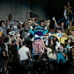April 24, 2011; New Orleans, LA, USA; New Orleans Hornets mascot celebrates with fans in the stands during the fourth quarter in game four of the first round of the 2011 NBA playoffs against the Los Angeles Lakers at the New Orleans Arena. The Hornets defeated the Lakers 93-88.   Mandatory Credit: Derick E. Hingle