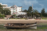 Fishing boat on the coastline at Malindi, Malindi, Kenya