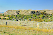 Fence and prairie <br /> Maple Creek<br /> Saskatchewan<br /> Canada