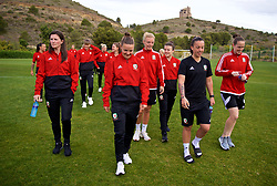 ALHAURÍN EL GRANDE, SPAIN - TUESDAY, MARCH 5, 2019: Wales' Helen Ward, Loren Dykes, captain Sophie Ingle, Hayley Ladd, Bethan Lloyd, goalkeeper Laura O'Sullivan during a pre-match team walk at the at Alhaurin Golf Resort in Spain. (Pic by David Rawcliffe/Propaganda)