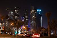 """08 APR 2013, DOHA/QATAR<br /> Palm Towers (2. u. 4. v. links), Tornado Tower (3. v.L.) Al Bidda Tower (5. v.L.), Qatar World Trade Center (Qatar General Insurance Reinsurance Company) (2.v.R.), und Doha Tower, auch """"Condom Tower"""" (halb verdeckt rechts), gesehen von der Al Corniche Street<br /> IMAGE: 20130408-01-045<br /> KEYWORDS: Katar, Hochaus, Wolkenkratzer, Tower, Skyscraper, Nacht, Nachtaufnahme, night, Hochhaeuser, Hochäuser, Skyscraper, West Bay, Dwontown Doha"""
