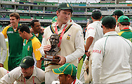 Graeme Smith with the Basil D'Oliveira Test Series Trophy after the final day day of the fourth Test at the Oval on the 11th of August 2008..England v South Africa.Photo by Philip Brown.www.philipbrownphotos.com