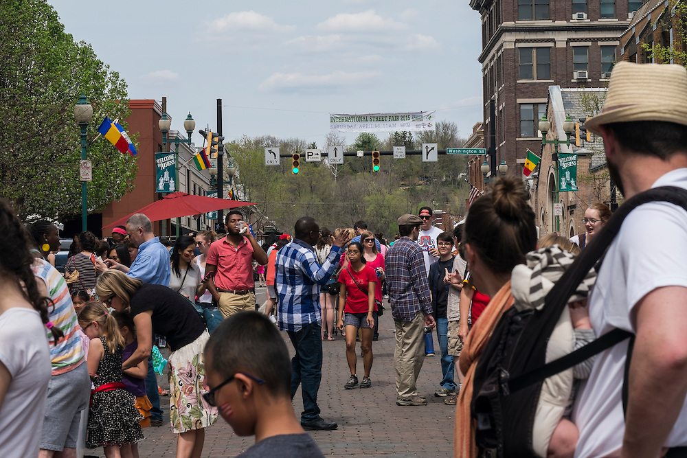 Visitors packed Court Street for the International Street Fair on Saturday, April 18, 2015.  Photo by Ohio University  /  Rob Hardin