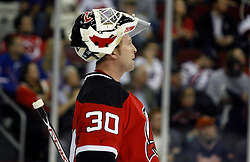 November 14, 2007; Newark, NJ, USA;  New Jersey Devils goalie Martin Brodeur (30) during the first period at the Prudential Center in Newark, NJ.