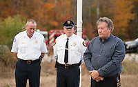 Flagpole dedication ceremony at the Gilford Warming Hut.  Karen Bobotas for the Laconia Daily Sun