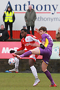 Tomi Adeloye and Cameron Burgess during the Vanarama National League match between Welling United and Cheltenham Town at Park View Road, Welling, United Kingdom on 5 March 2016. Photo by Antony Thompson.