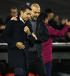 Champions League 2017/2018<br />Feyenoord-Manchester City<br />Pep Guardiola troost Giovanni van Bronckhorst<br />Foto ; Pim Ras during the UEFA Champions League group F match between Feyenoord Rotterdam and Manchester City at the Kuip on September 13, 2017 in Rotterdam, The Netherlands