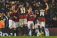 Solly March of Brighton and Hove Albion (3rd right) celebrates scoring his team's second goal to make it 0-2 during the Sky Bet Championship match at Craven Cottage, London<br /> Picture by David Horn/Focus Images Ltd +44 7545 970036<br /> 29/12/2014