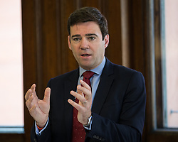 © Licensed to London News Pictures . 09/06/2016 . Manchester , UK . ANDY BURNHAM MP for Leigh and candidate for Labour's campaign for Greater Manchester Mayor , delivers a speech on the EU referendum and security , at the Greater Manchester Chamber of Commerce at Elliot House in central Manchester . Photo credit : Joel Goodman/LNP
