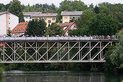 Peloton at bridge in Novo mesto at 4th stage of Tour de Slovenie 2009 from Sentjernej to Novo mesto, 153 km, on June 21 2009, Slovenia. (Photo by Vid Ponikvar / Sportida)