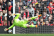 Stoke City goalkeeper Jack Butland (1) is beaten but the shot goes just wide during the Premier League match between Liverpool and Stoke City at Anfield, Liverpool, England on 28 April 2018. Picture by Craig Galloway.