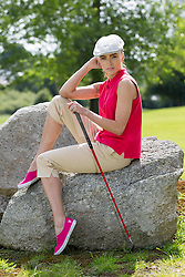 Repro Free: 24/06/2013 Model Sarah Morrissey looked like pros today in The Burrow Golf Course, Stepaside, Dublin 18 as she showcased the best in designer golf apparel from labels-for-less retailer TK Maxx. Offering contemporary golf wear that combines style, tailoring and performance for golfers to sport on and off the course, TK Maxx Ireland has everything you need before teeing off all with up to 60% off the RRP. For more information, visit www.tkmaxx.ie or find them on Facebook. Picture Andres Poveda<br /> <br /> Shirt ?12.99<br /> Pants ?34.99<br /> Shoes ?34.99<br /> Hat ?19.99