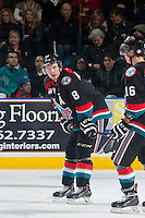 KELOWNA, CANADA - DECEMBER 5: Colten Martin #8 of Kelowna Rockets stands on the ice against the Prince George Cougars on December 5, 2014 at Prospera Place in Kelowna, British Columbia, Canada.  (Photo by Marissa Baecker/Shoot the Breeze)  *** Local Caption *** Colten Martin;