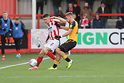 Sean Long and Sam Smith  during the EFL Sky Bet League 2 match between Cheltenham Town and Cambridge United at Jonny Rocks Stadium, Cheltenham, England on 14 December 2019.