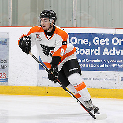 BURLINGTON, ON - SEP 9:  Liam Winslow #9 of the Orangeville Flyers during the pregame warm-up. OJHL regular season game between the Orangeville Flyers and the Burlington Cougars. Orangeville Flyers and Burlington Cougars  on September 9, 2016 in Burlington, Ontario. (Photo by Tim Bates / OJHL Images)