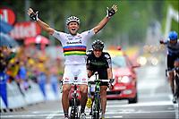 Sykkel , 19. juli 2011 , TOUR DE FRANCESTAGE 16 - Saint-Paul-Trois Châteaux > Gap (162,5km) -<br /> 51 Thor Hushovd (Garmin - Cervelo) - 114 Edvald Boasson Hagen (Team Sky)<br /> Norway only