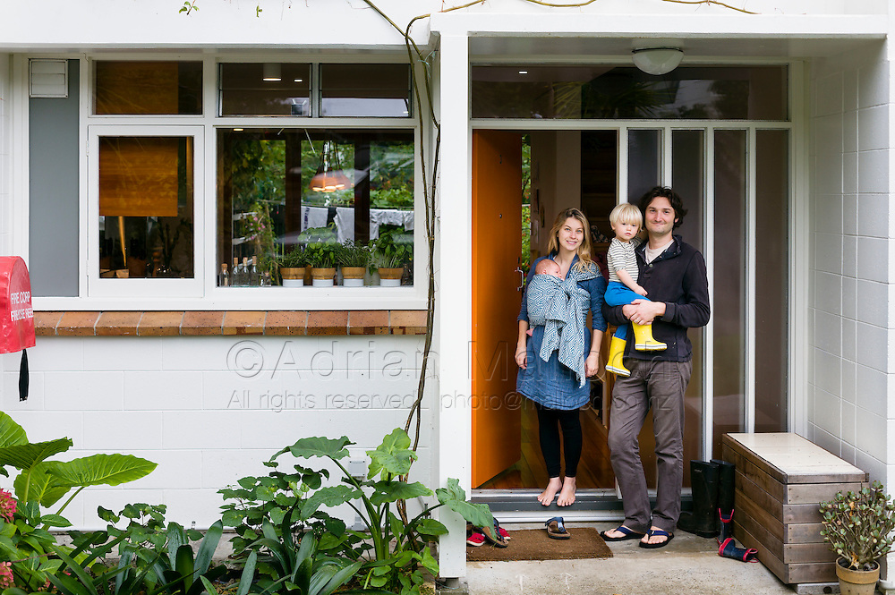 Beau and Emily Klaibert with their children Felix and Remy. <br /> The Ghetto. The Commune for Capitalists. The Arts Enclave. It feels like anyone who's every lived or worked centrally in Auckland knows someone who's lived here, in one of these 201 flats on the steep green flanks of Freemans Bay. Freemans Park is a convivial scatter of neat, terraced houses and three or four-storey apartment blocks, set in pretty park land.<br /> It attracts creative types: architects, designers, people working in media, and hospo. Several practicing artists live there now &ndash; but actually all sorts live there.<br /> Unusually, fully a quarter of the units are social housing; mostly Housing New Zealand-owned. The rest are either private rentalsor owner-occupied. Six-figure households live right by people on the benefit or minimum wage.<br /> &ndash; Excerpt from feature on Freemans Park by Nicola Shepheard<br /> Metro Magazine, June 2015