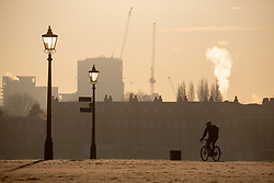 © Licensed to London News Pictures. 31/01/2019. London, UK. A cyclist rides through Blackheath Park in south east London on a frosty, clear morning. Temperatures in London reach minus three degrees Celsius last night. Photo credit : Tom Nicholson/LNP