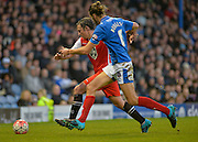 Macclesfield Towns Kristian Dennis and Portsmouths Christian Burgess during the The FA Cup match between Portsmouth and Macclesfield Town at Fratton Park, Portsmouth, England on 7 November 2015. Photo by Adam Rivers.