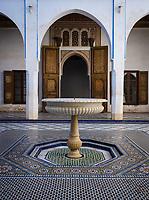 MARRAKESH, MOROCCO - CIRCA APRIL 2017: Fountain at the Bahia Palace in Marrakech
