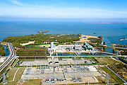 Nederland, Noord-Holland, Diemen, 20-04-2015;  PEN-eiland (Diemer Vijfhoek) met Centrale Diemen, STEG-warmtekrachtcentrale van Nuon. Naast de centrale de warmtebuffer voor opslag van stadswarmte.<br /> Nuon power plant near Amsterdam.<br /> luchtfoto (toeslag op standard tarieven);<br /> aerial photo (additional fee required);<br /> copyright foto/photo Siebe Swart