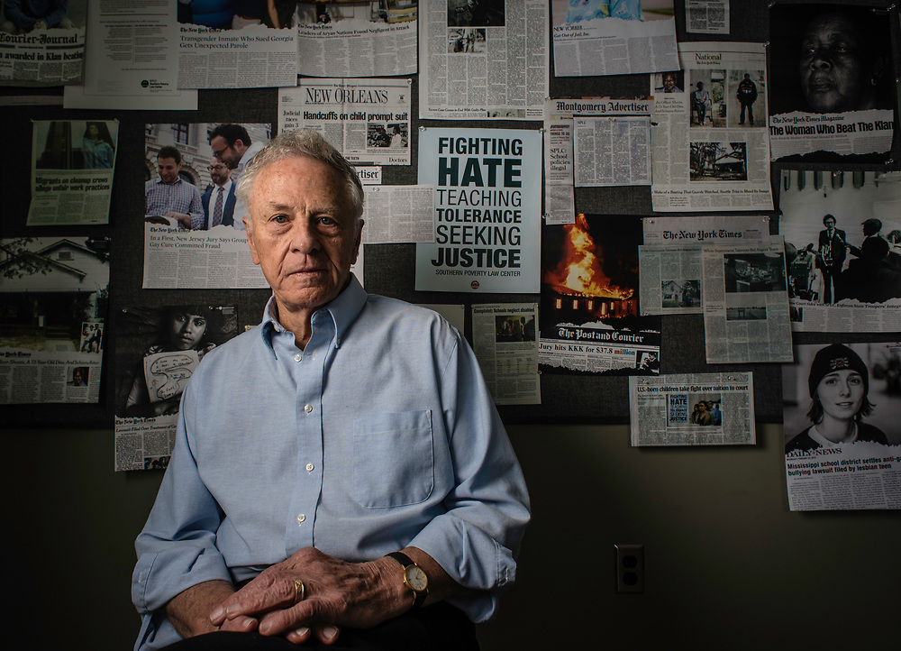 MONTGOMERY, AL -- 5/25/17 -- Even at age 80, Morris Dees still comes into the office daily. The attorney has made a career taking down racist organizations and hate groups over the years, and has created an infrastructure to continue that work well into the future. Dees is pictured in the SPLC War Room among clips that celebrate their many legal victories.<br /> Civil Rights attorney Morris Dees co-founded the Southern Poverty Law Center in 1971. The group has taken on the Ku Klux Klan and fought for against hate for decades, but is now facing criticism that it has labeled some groups without just cause..&hellip;by Andr&eacute; Chung #_AC17380